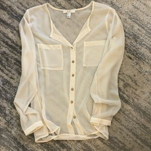 Oversized Ivory Blouse
